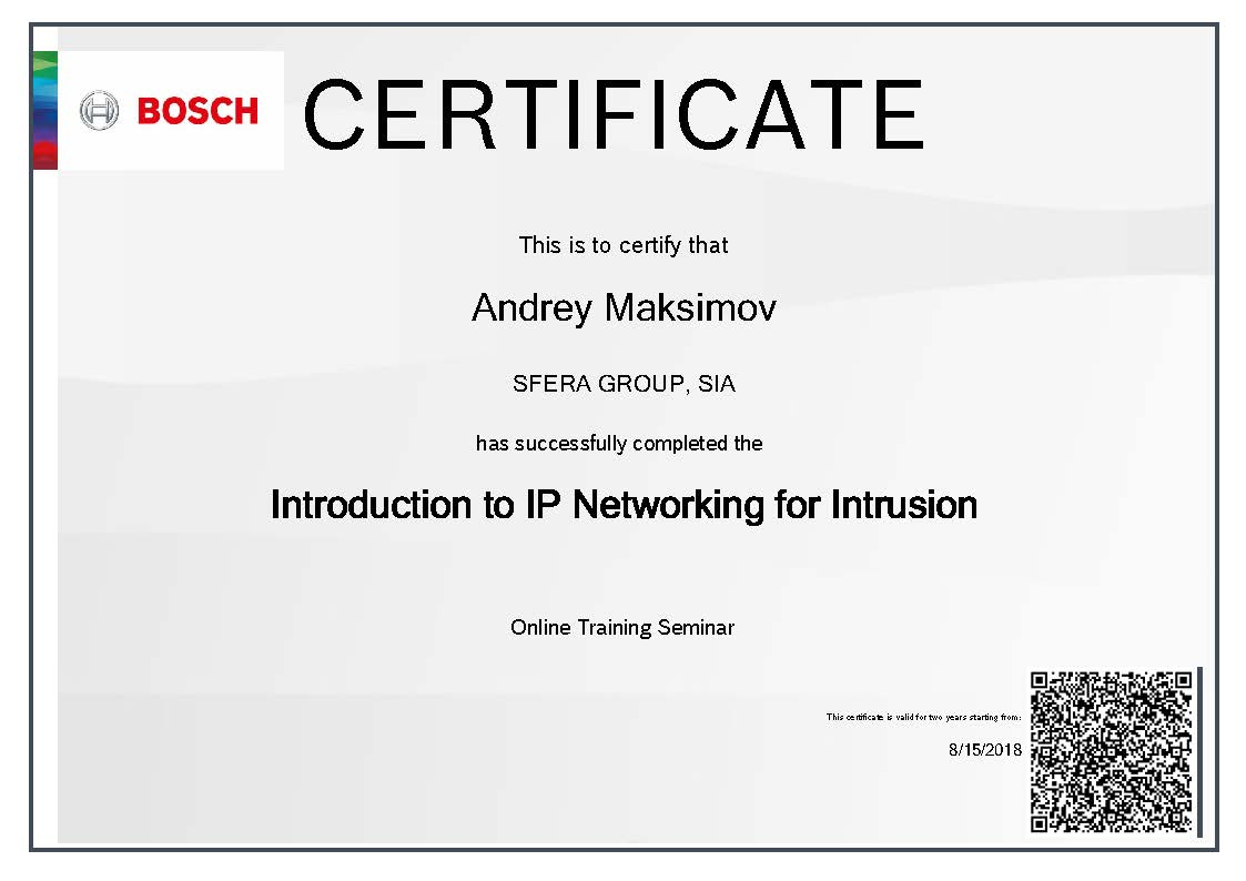 Bosch certificate IP Networking for Intrusion