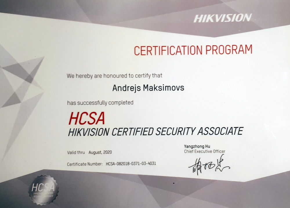 Hikvision certificate HSCA