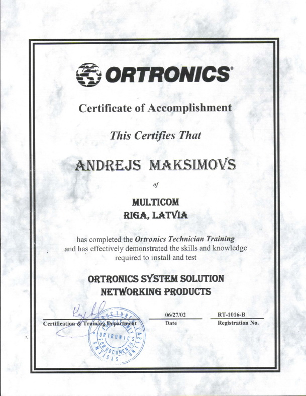Ortronics certificate