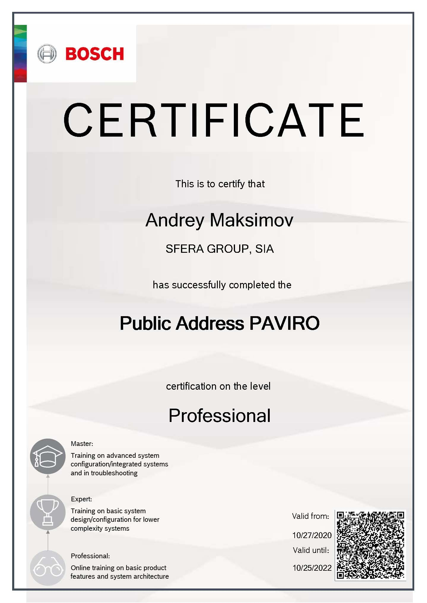 Bosch PAVIRO Technical Professional Certification