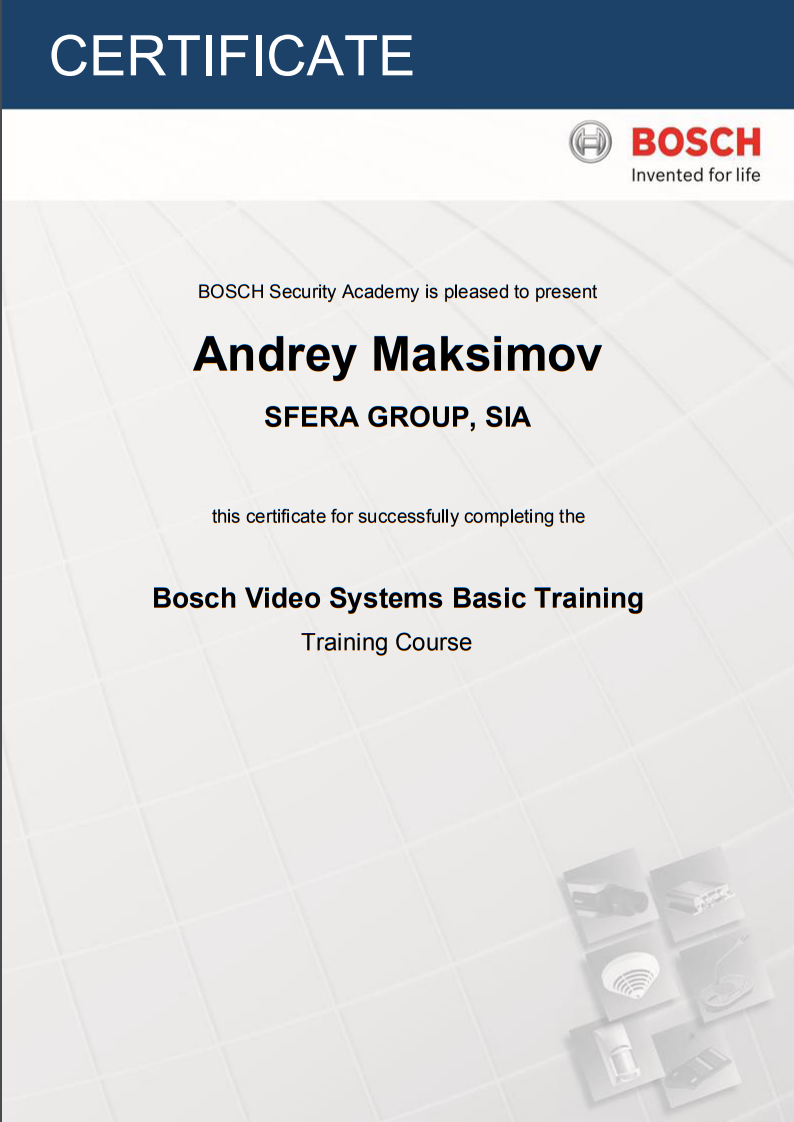Bosch certificate Video System Basic Training